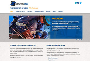 Source One Staffing website