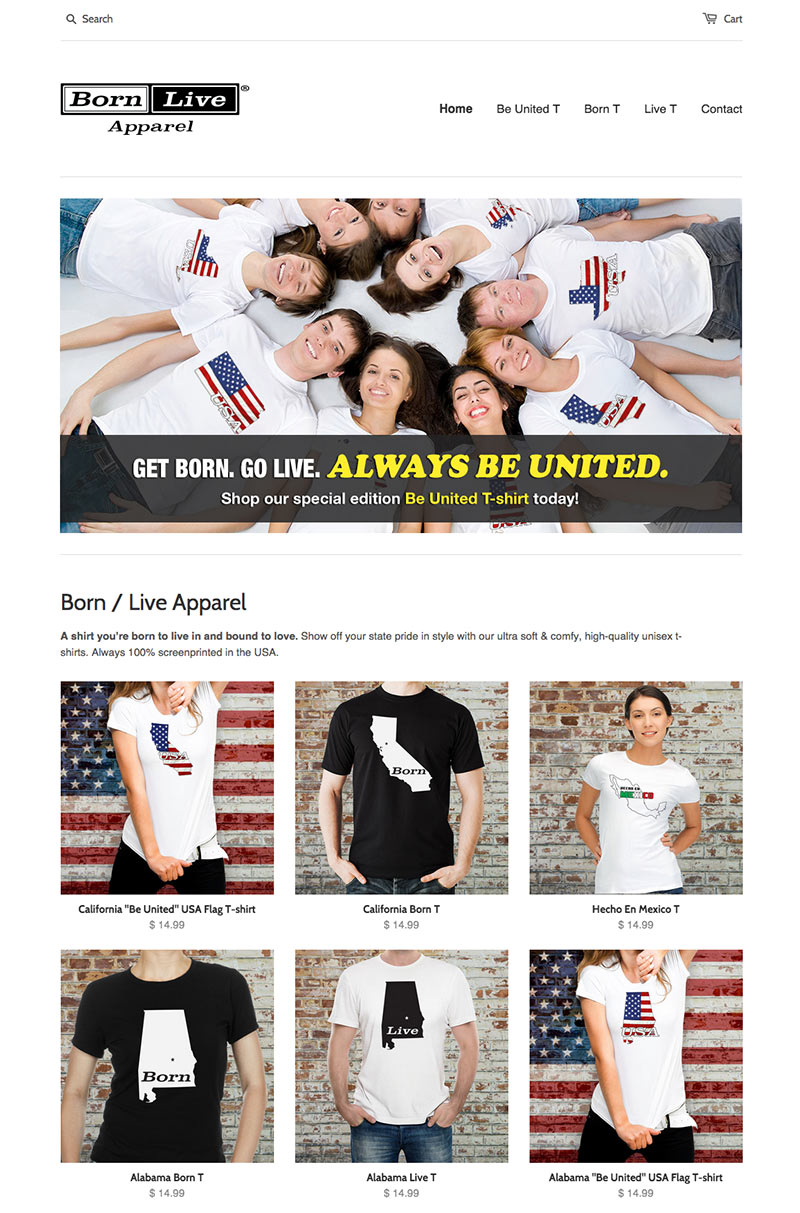 Born / Live Apparel Website Screenshot