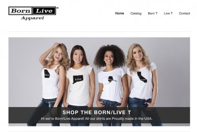 Born/Live Apparel website
